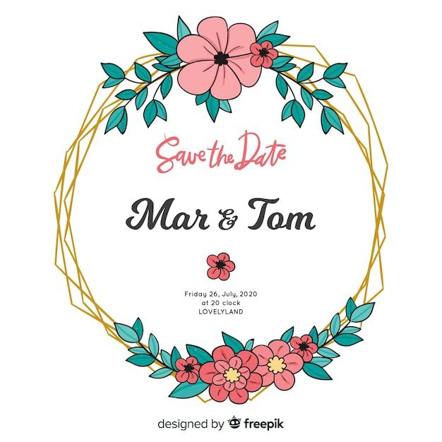 Handgeschilderde bloemen frame bruiloft uitnodiging Gratis Vector