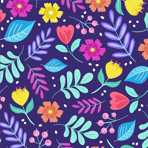 Handgeschilderde bloemen op stoffenpatroon Gratis Vector