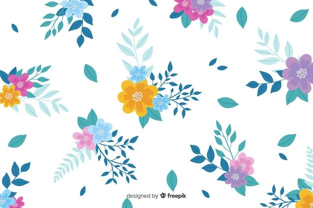 Handgeschilderde bloemenachtergrond Gratis Vector
