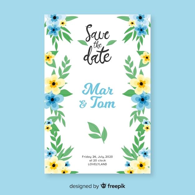 Handgeschilderde bloemenhuwelijksuitnodiging Gratis Vector