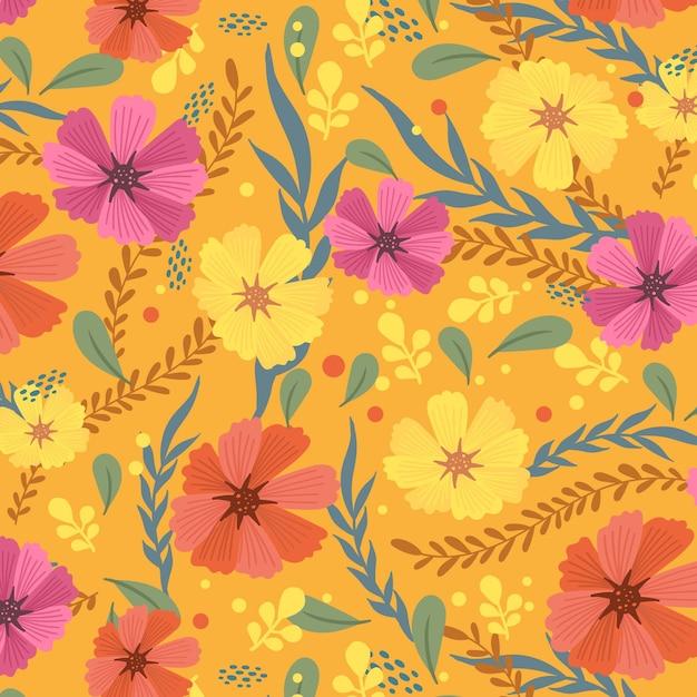 Handgeschilderde exotische bloemenpatroon Premium Vector