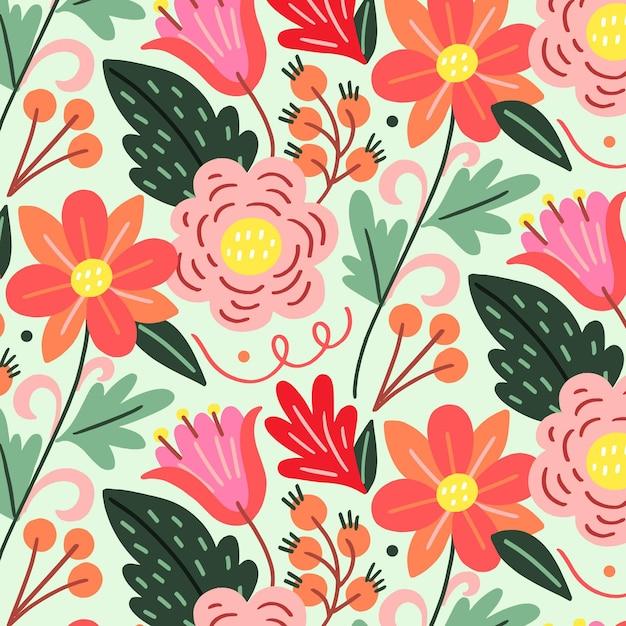 Handgeschilderde exotische bloemmotief Gratis Vector
