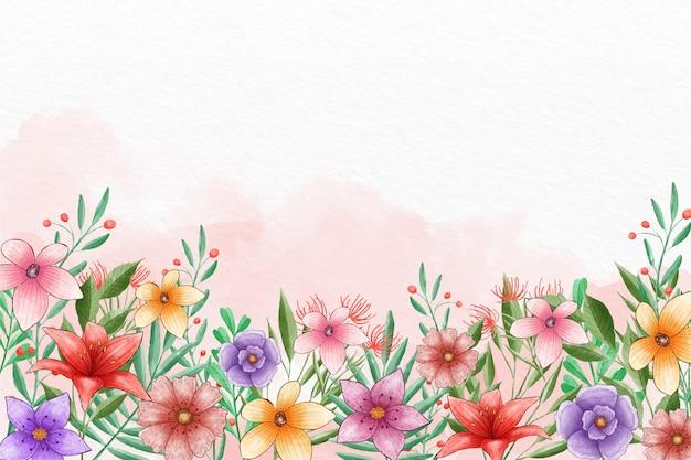 Handgeschilderde lente achtergrond Gratis Vector