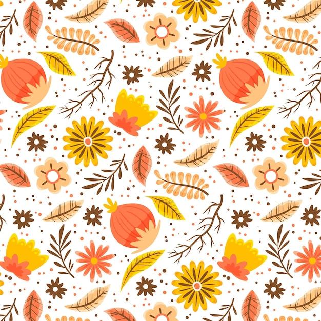 Handgeschilderde tropische bloemenpatroon Gratis Vector