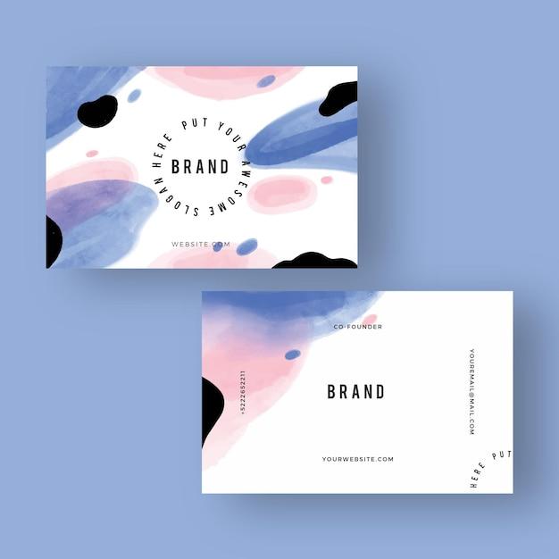 Handgeschilderde visitekaartjes concept Gratis Vector