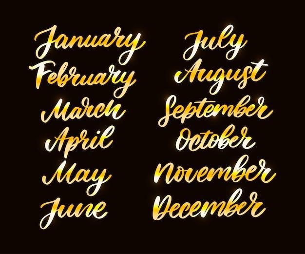 Handgeschreven namen van de maand Premium Vector