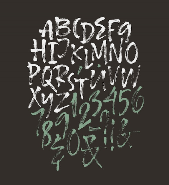 Handgeschreven script lettertype. borstletter. hoofdletters, cijfers, interpunctie Gratis Vector