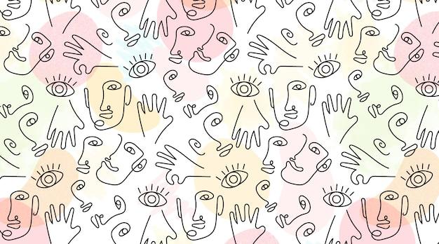 Handgetekend met naadloze patroon van één regel gezichten Gratis Vector