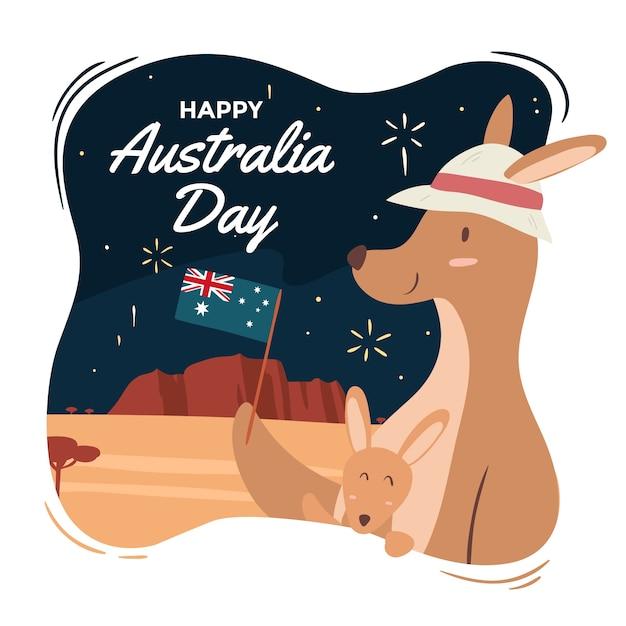 Handgetekend voor de dag van australië Gratis Vector