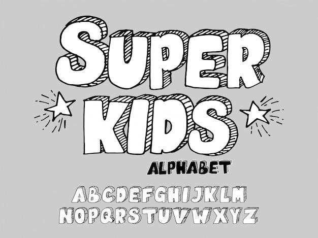 Handgetekende 3d-lettertype kinderen Premium Vector
