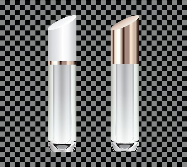 Handgetekende 3d van glazen buizen voor parfum of lippenstift. Premium Vector