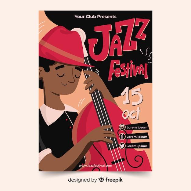 Handgetekende abstracte jazz-poster Gratis Vector