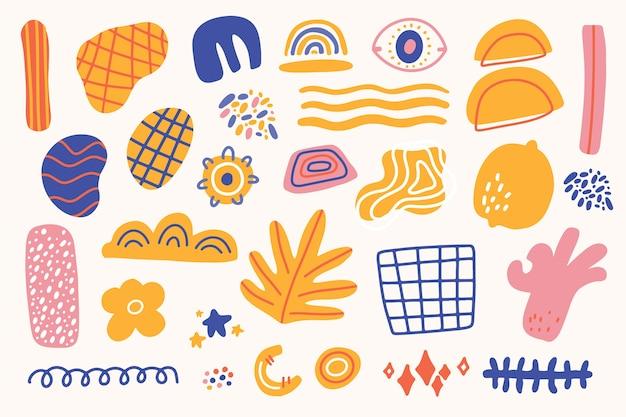 Handgetekende abstracte organische vormen behangstijl Gratis Vector