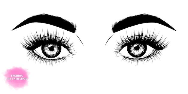 Handgetekende afbeelding van mooie ogen Premium Vector