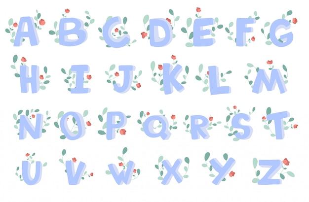 Handgetekende alfabet met florale decoratie, lettertype, letters. Premium Vector
