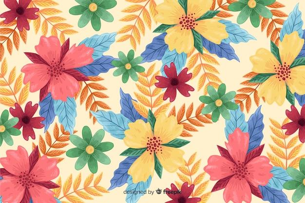 Handgetekende bloemen bloesem behang Gratis Vector