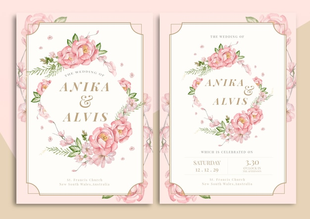 Handgetekende bloemen bruiloft uitnodigingskaart Premium Vector