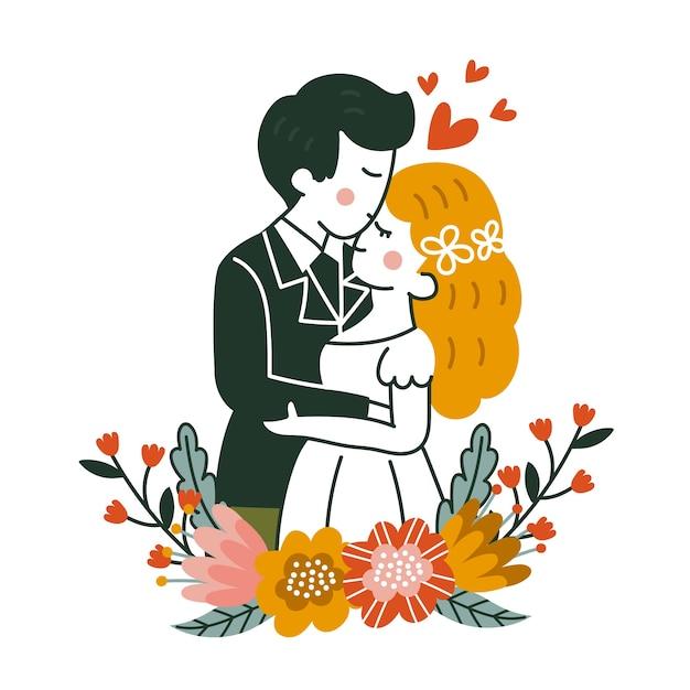 Handgetekende bruidspaar illustratie Gratis Vector