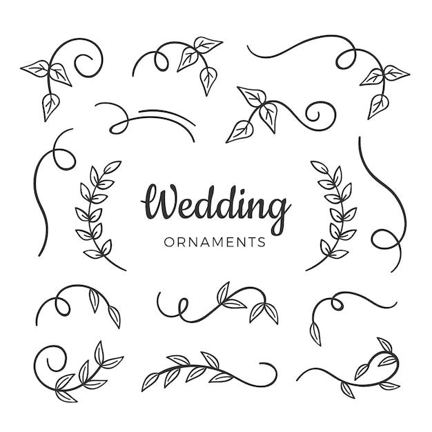 Handgetekende bruiloft elementen Gratis Vector