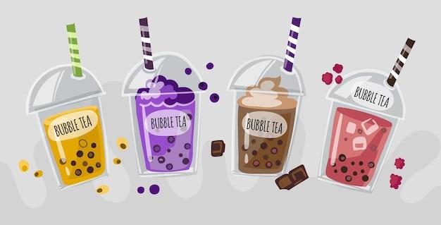 Handgetekende bubble tea smaken concept Premium Vector