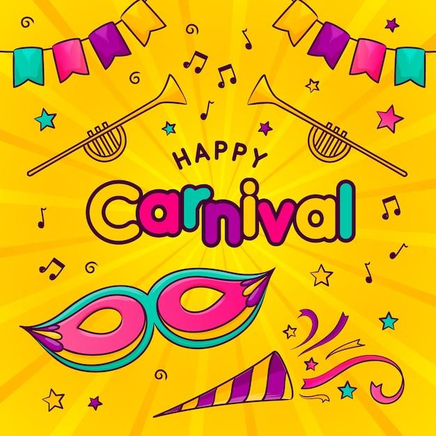 Handgetekende carnaval dagviering Gratis Vector