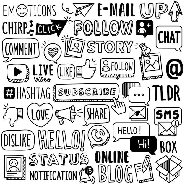 Handgetekende collectie: social media word-voorwaarden Premium Vector