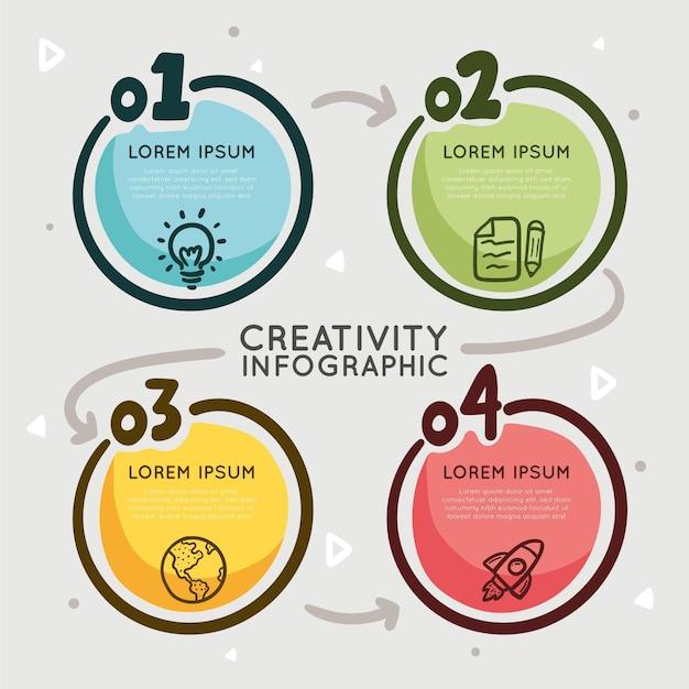 Handgetekende creativiteit infographics sjabloon Gratis Vector