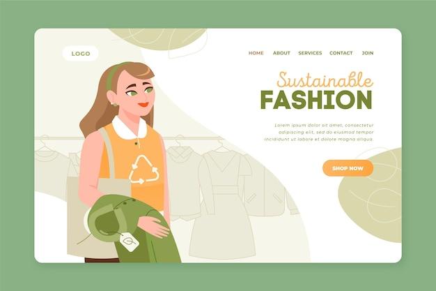 Handgetekende duurzame mode-bestemmingspagina Gratis Vector