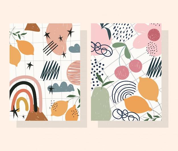 Handgetekende eigentijdse, bloemvruchten decoratie trendy print collage kleurenbanners Premium Vector