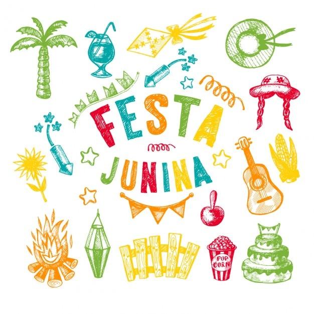Handgetekende elementen van het festa junina dorpsfeest Gratis Vector