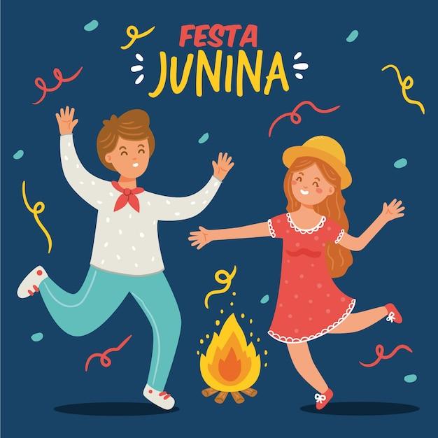 Handgetekende festa junina Gratis Vector