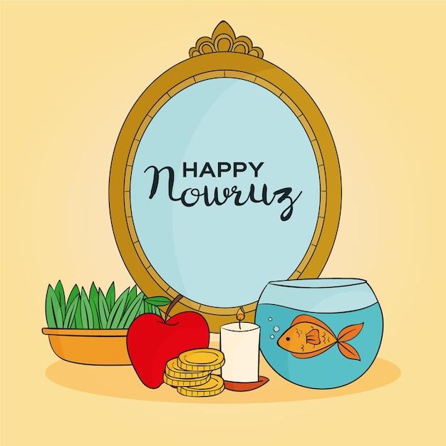 Handgetekende happy nowruz illustratie met spiegel en goudvissenkom Gratis Vector
