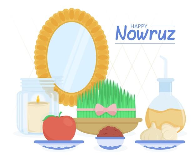 Handgetekende happy nowruz illustratie met spiegel en spruiten Gratis Vector