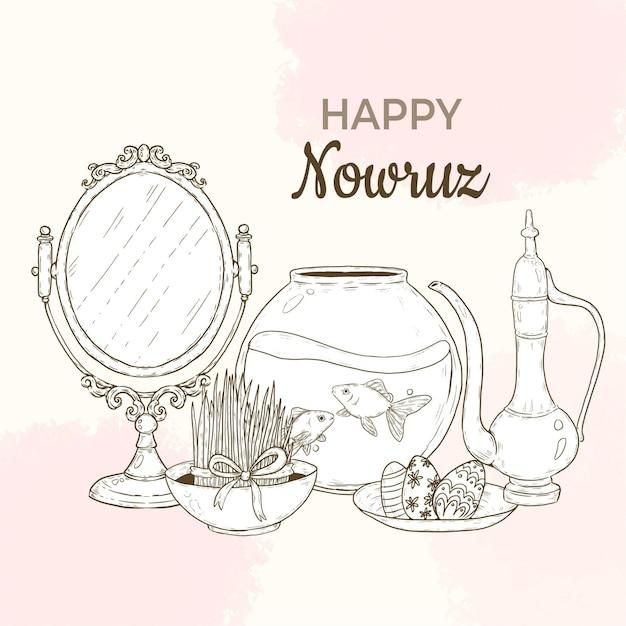 Handgetekende happy nowruz illustratie met spiegel en vissenkom Gratis Vector