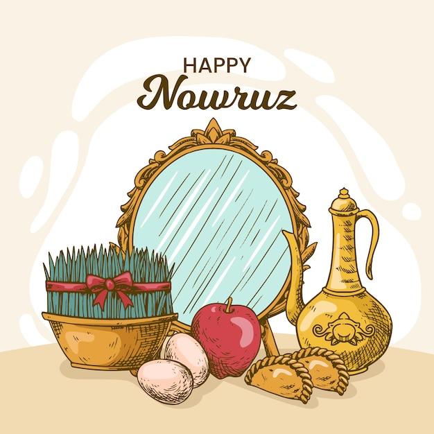 Handgetekende happy nowruz illustratie met spruiten en spiegel Gratis Vector