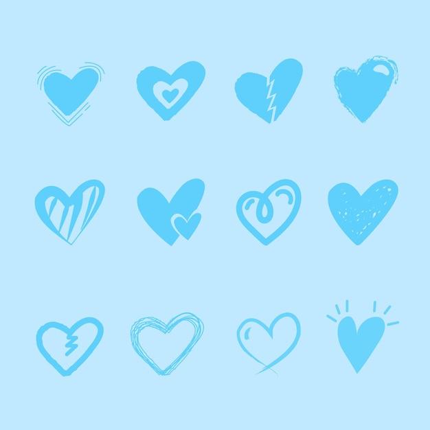 Handgetekende hart collectie concept Premium Vector