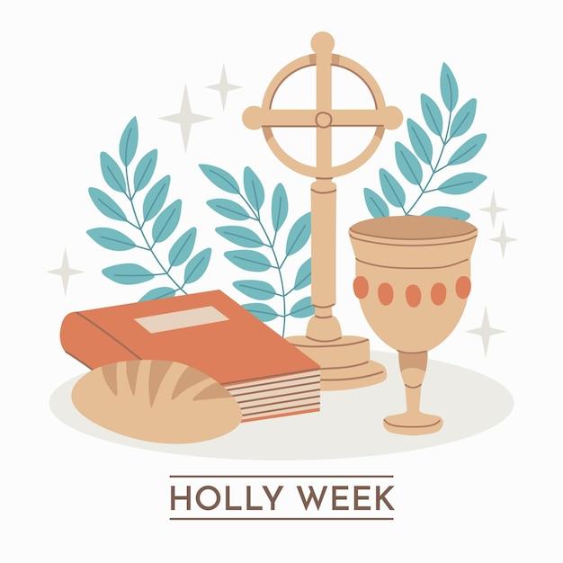 Handgetekende heilige week illustratie met kruis en brood Gratis Vector