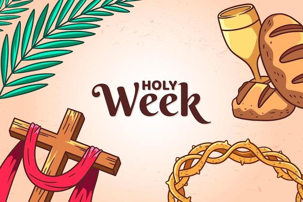 Handgetekende heilige week illustratie met kruis en kroon van doornen Gratis Vector