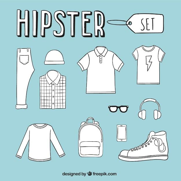 Handgetekende hipster herenkleding Gratis Vector