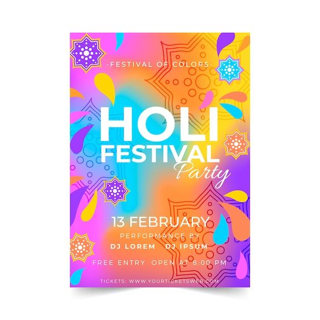 Handgetekende holi festival poster sjabloon Gratis Vector