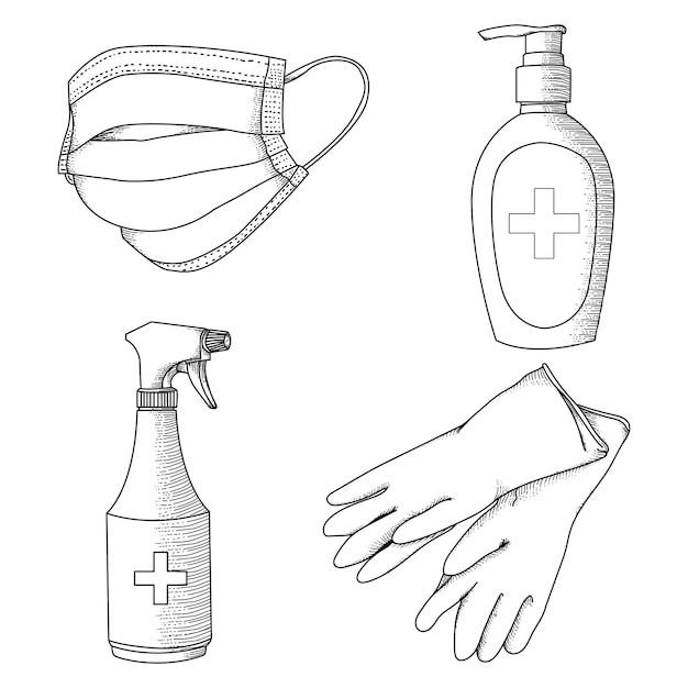 Handgetekende ilustration zwart-wit viruspreventie gezondheidsapparatuur Premium Vector