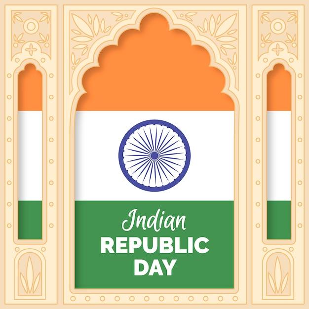Handgetekende indiase republiek dag Gratis Vector