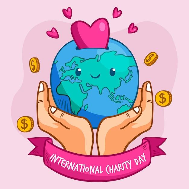 Handgetekende internationale dag van liefdadigheidsthema Gratis Vector