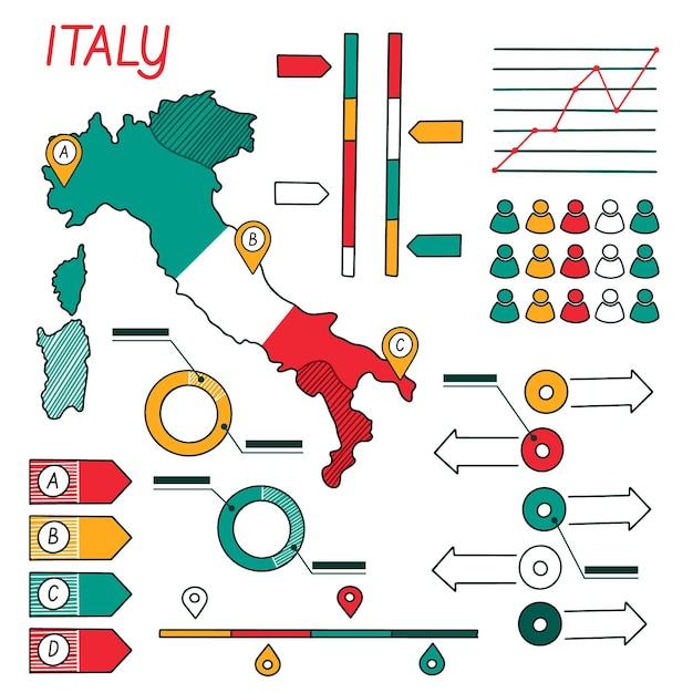 Handgetekende italië kaart infographic Premium Vector