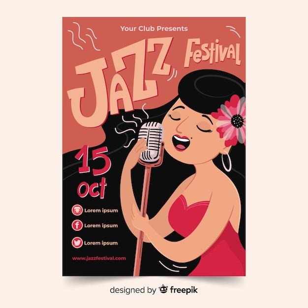 Handgetekende jazzmuziek-poster Gratis Vector