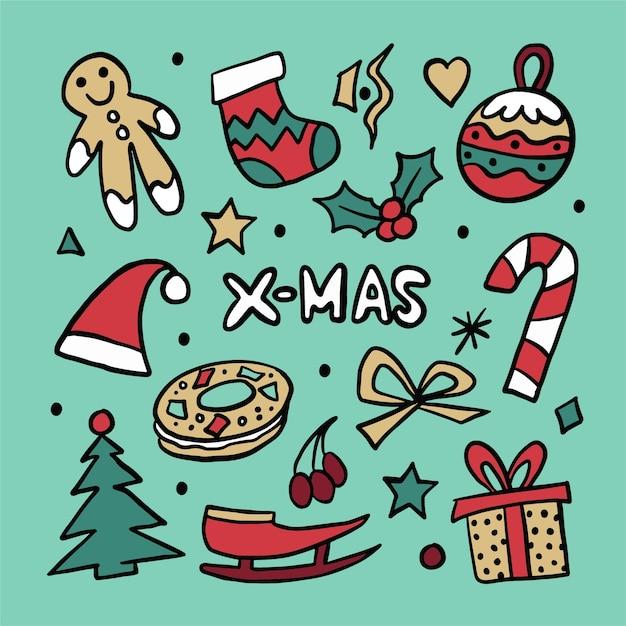 Handgetekende kerst icon pack Gratis Vector