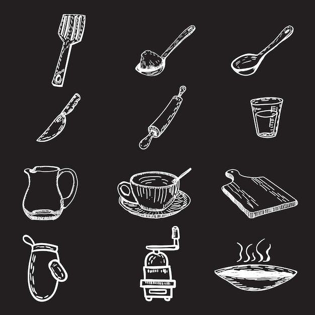Handgetekende keukenware collectie Gratis Vector