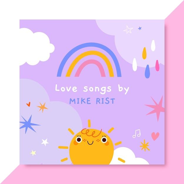 Handgetekende kinderlijke liefde cd-hoes Gratis Vector