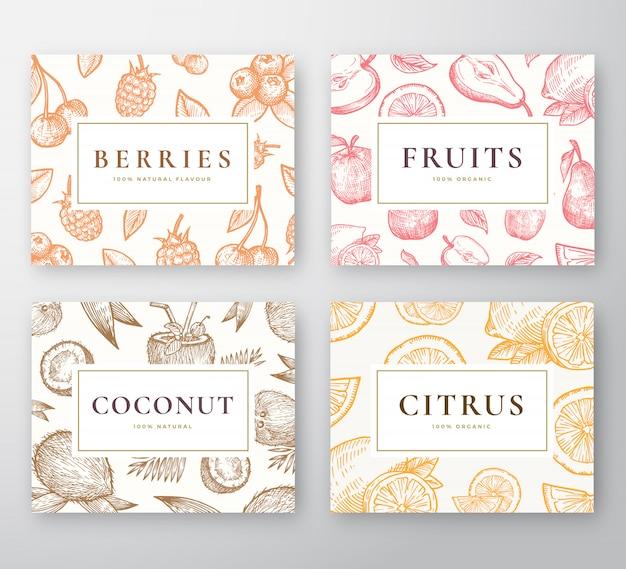 Handgetekende kokosnoot, citrusvrucht, bessen en fruit kaarten set. abstracte schets achtergronden collectie met stijlvolle retro typografie. kokosnoten, kersen, citroen, appel en peer schetsen. Premium Vector