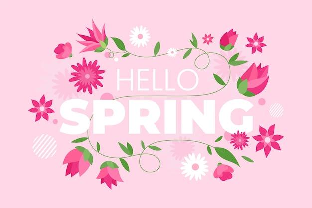 Handgetekende lente behang Gratis Vector